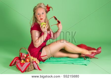 Picnic basket and pin up girl with stockings and suspenders