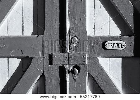 Old Barn Door Marked Private