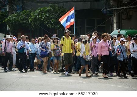 Bangkok - Dec 9: Anti-government Protesters March To Government House On December 9, 2013 In Bangkok