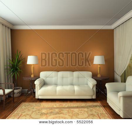 3D rendering interni classici del soggiorno
