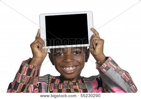 African Boy Showing Tablet Pc, Free Copy Space