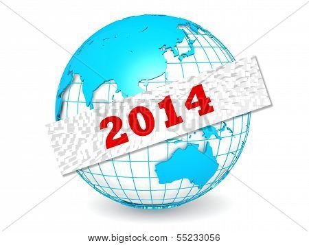 Globe with 2014 word
