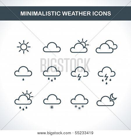 Minimalistic Weather icons. Vector