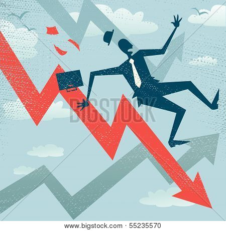 Abstract Businessman Falls Down The Sales Chart.eps