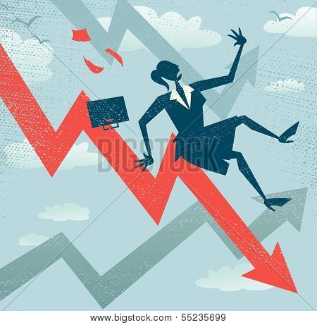 Abstract Businesswoman Falls Down The Sales Chart.eps