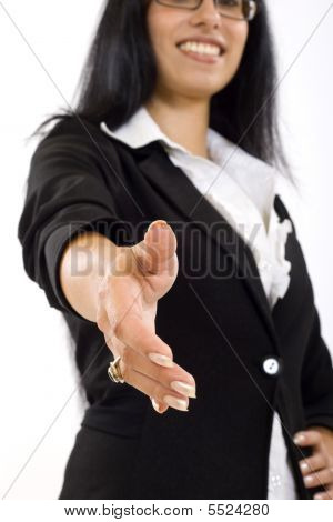 Businesswoman Ready To Shake Hands