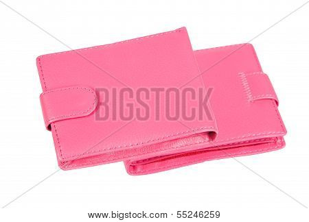 Pink Purses On A White Background. Collage