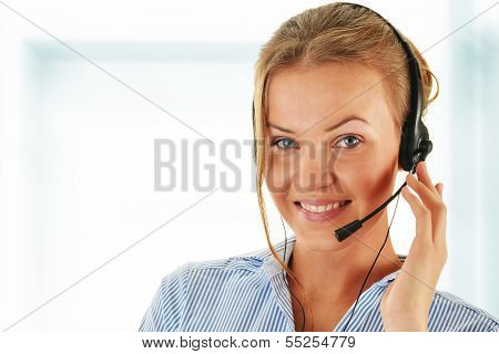 Call center operator. Customer support. Helpdesk . poster