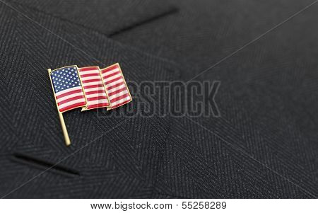 Usa Flag Lapel Pin On The Collar Of A Business Suit