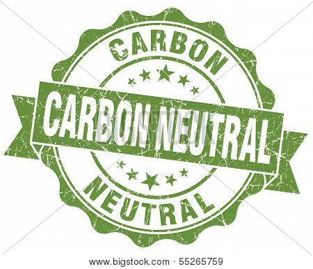 Carbon Neutral Green Vintage Seal Isolated On White
