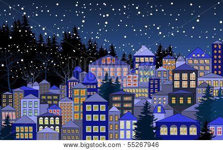 Christmas snowy town