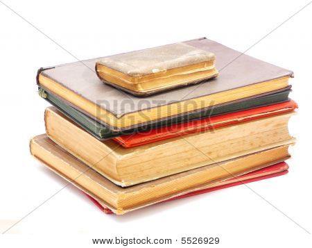 Stack Of Vintage Books Isolated