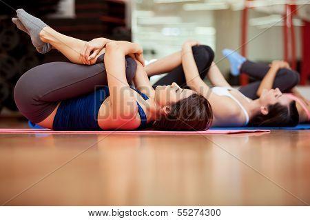 Girls warming up in a gym
