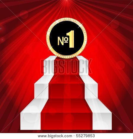 medal with number one .award in gold with brilliant stones.mark with the number one on the top of the stairs.vector poster