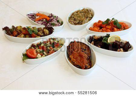 Fresh salads on restaurant table