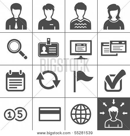 Telecommuting, remote work and telework icons. Vector illustration. Simplus series