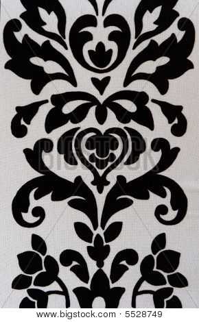 Abstract Black White Floral Fabric Pattern