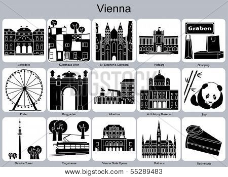 Landmarks of Vienna. Set of monochrome icons. Raster illustration. poster