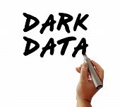 Closeup of a hand writing the message Dark Data with a marker possibly for a business or Internet / Web strategy isolated on a white background. poster