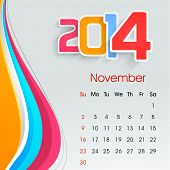 New Year 2014 November month calendar.  poster