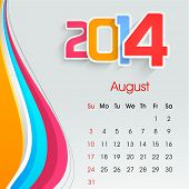 New Year 2014 August month calendar.  poster