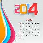 New Year 2014 June month calendar.  poster