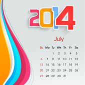 New Year 2014 July month calendar.  poster