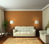 Classic design interior of living-room. 3D render poster