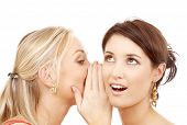 friendship, happiness and people concept - two smiling women whispering gossip poster