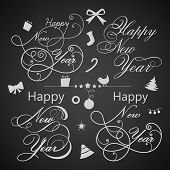 Happy New Year 2014 and Merry Christmas calligraphic and typographic elements set, frames, vintage labels. Ribbons, stickers. poster