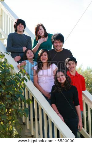 Group Of Teens On Stairs