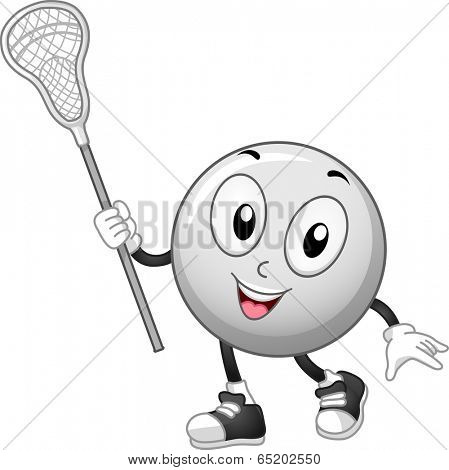 Mascot Illustration of a Lacrosse Ball Holding a Lacrosse Stick