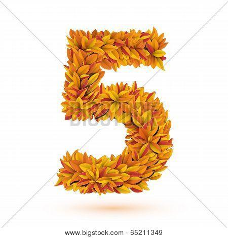 Autunm fall bright orange leaves number