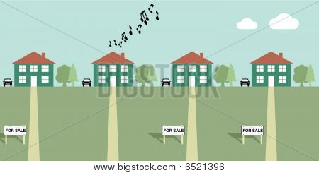 House playing load music with neighbours for sale signs poster