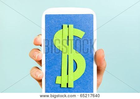 Blue screen smartphone showing dollar symbol on blue background