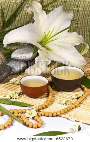 Oriental Ancient Traditional Tea Ceremony Still Life.