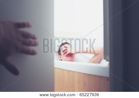 Sneaking Up On Woman In Bathtub
