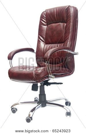 Leather Upholstered Office Chair Of Claret Color With Trundles
