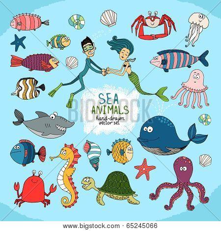 Set of hand-drawn cartoon sea life