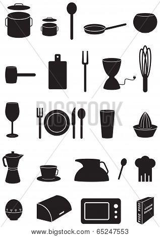 Kitchen Icons Set, Black Silhouettes, On White Background