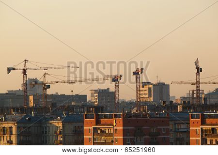 City view at sunset