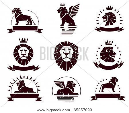 Emblems set with lions