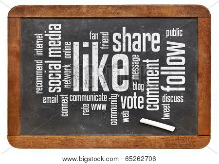 social media concept - like, share, follow word cloud on a vintage blackboard poster