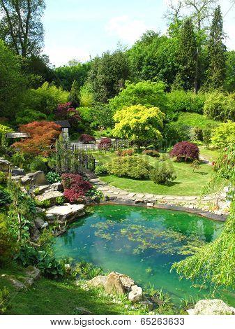 Pond And Garden Landscape