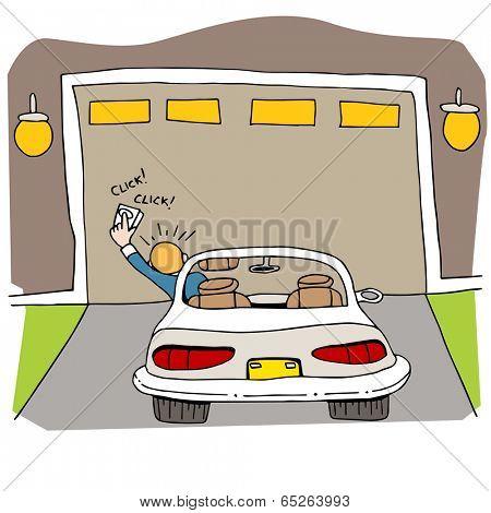An image of broken garage door.