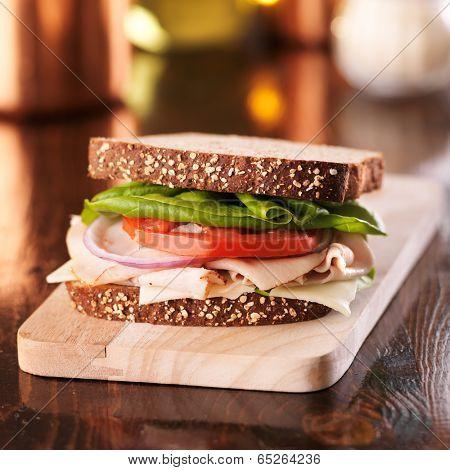 cold cut turkey deli meat sandwich poster