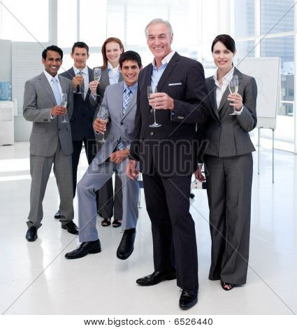 Multi-ethnic Business People Toasting With Champagne