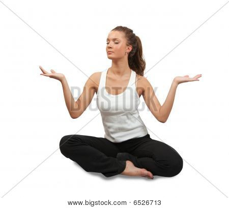 Young Woman Doing Yoga Over White