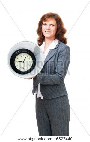 Woman stand with clock in bin showing concept of lost time poster