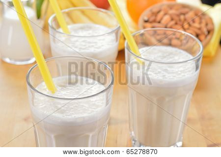 Banana And Almond Milk Smoothie On A Table.